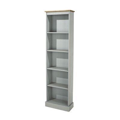 Bibliothèque 4 étagères 46x20x176 cm gris et naturel - SERGO