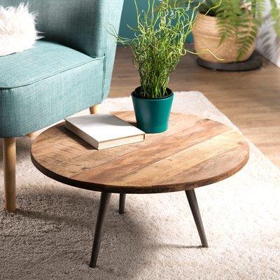 Table basse ronde 55 cm en teck recyclé et pieds métal - APPOLINE