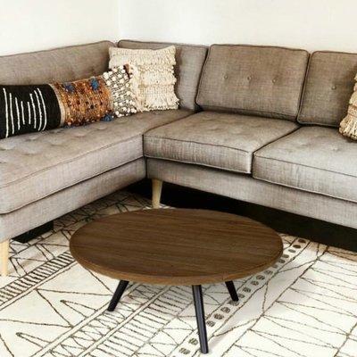 Table basse ronde 75 cm en teck recyclé et métal - APPOLINE