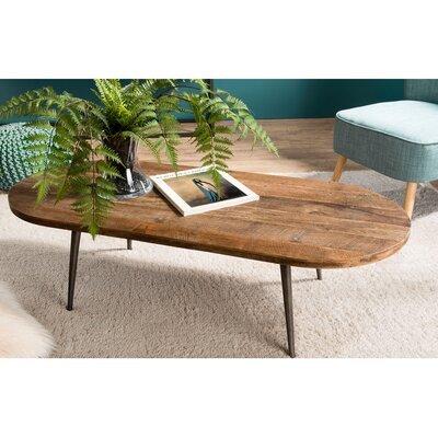 Table basse 120x50x35 cm en teck recyclé et métal - APPOLINE