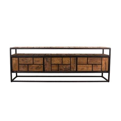 Meuble TV 3 tiroirs et 1 étagère en teck recyclé et métal - APPOLINE