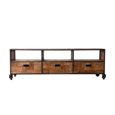 Meuble TV 3 tiroirs et 3 niches en teck recyclé et métal - APPOLINE
