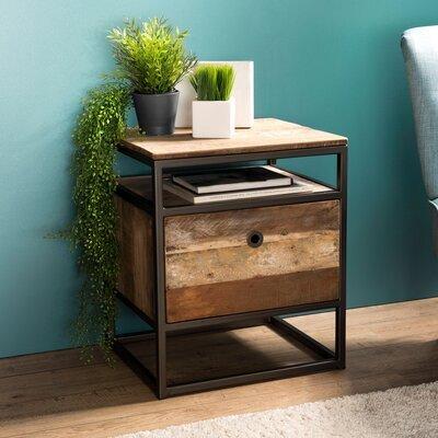 Table d'appoint avec 1 tiroir en teck recyclé et métal - APPOLINE