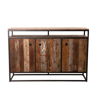 Buffet 3 portes et 1 étagère en teck recyclé et métal - APPOLINE