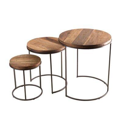 Set de 3 tables d'appoint rondes gigogne en teck recyclé - APPOLINE