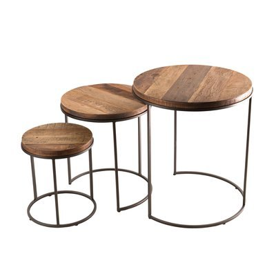 Set de 3 tables d'appoint rondes gigogne Teck recyclé Acacia Mahogany pieds mé
