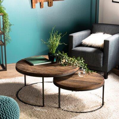 Lot de 2 tables gigognes en teck recyclé et métal - APPOLINE