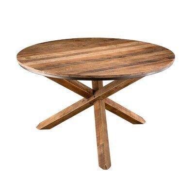 Table à manger ronde 130 cm en teck recyclé  - APPOLINE