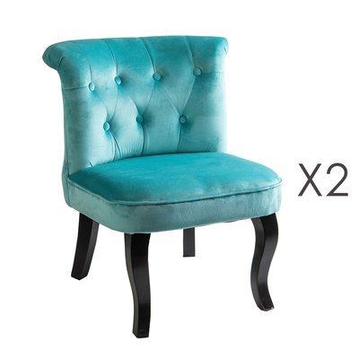 Lot de 2 fauteuils crapaud en velours bleu clair - TOADY