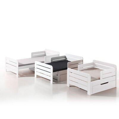 Lit enfant évolutif 90x140/160/200 cm + tiroir en pin blanc - JUMPY