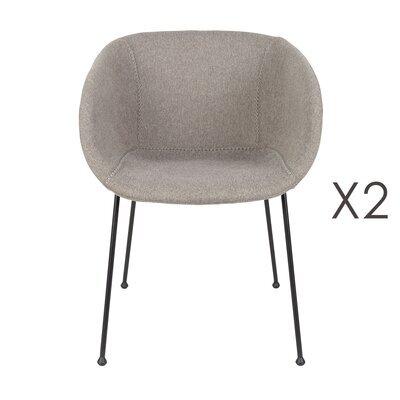 Lot de 2 chaises 56,5x55x77 cm en tissu gris - FESTON