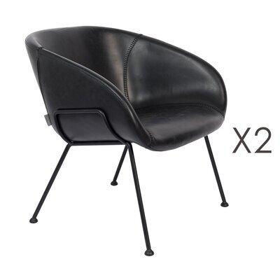 Lot de 2 fauteuils 70,5x65,5x72 cm en cuir noir - FESTON