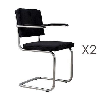 Lot de 2 chaises avec accoudoirs en tissu noir - RIDGE