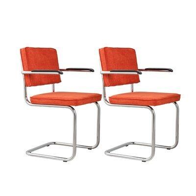 Lot de 2 chaises avec accoudoirs en tissu orange - RIDGE