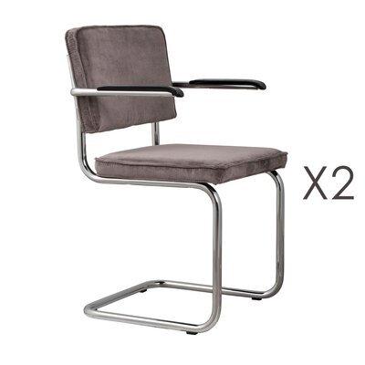 Lot de 2 chaises avec accoudoirs en tissu gris - RIDGE