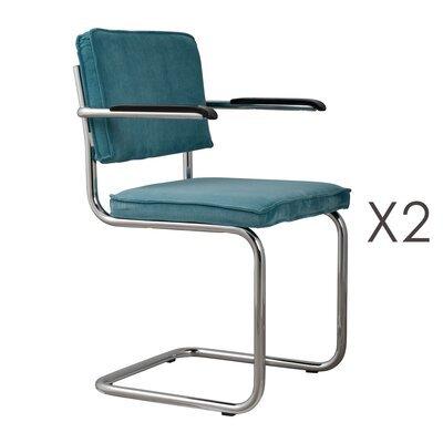 Lot de 2 chaises avec accoudoirs en tissu bleu - RIDGE