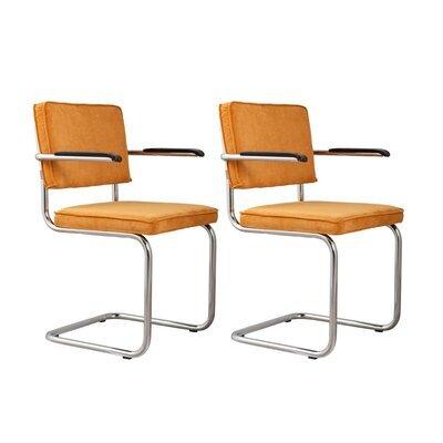 Lot de 2 chaises avec accoudoirs en tissu jaune - RIDGE