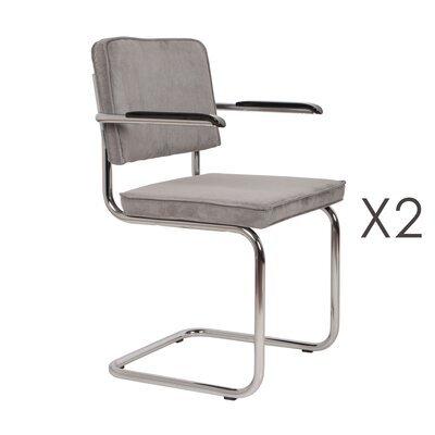 Lot de 2 chaises avec accoudoirs en tissu gris clair - RIDGE