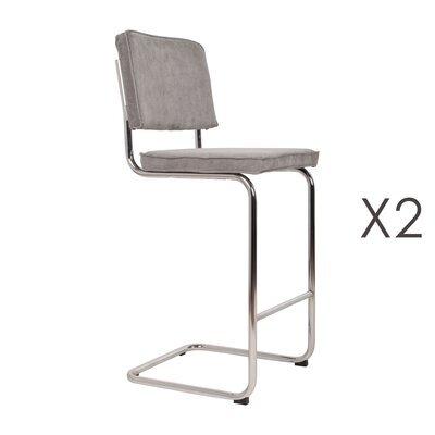 Lot de 2 chaises de bar en tissu gris clair - RIDGE