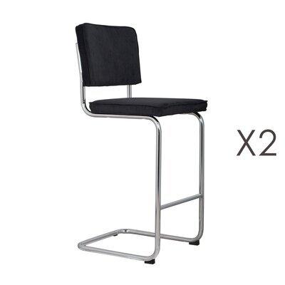 Lot de 2 chaises de bar en tissu noir - RIDGE