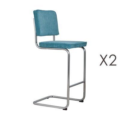 Lot de 2 chaises de bar en tissu bleu - RIDGE