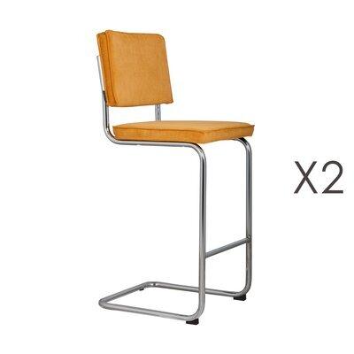 Lot de 2 chaises de bar en tissu jaune - RIDGE
