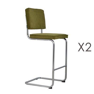Lot de 2 chaises de bar en tissu vert - RIDGE