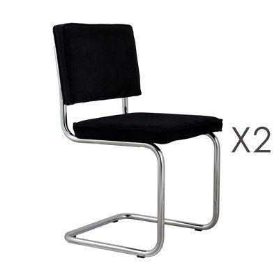 Lot de 2 chaises en tissu noir - RIDGE