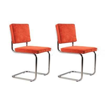Lot de 2 chaises en tissu orange - RIDGE