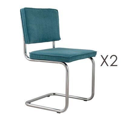 Lot de 2 chaises en tissu bleu - RIDGE