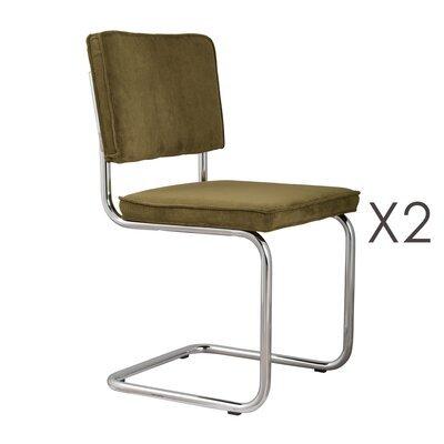 Lot de 2 chaises en tissu vert - RIDGE