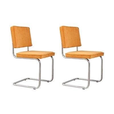 Lot de 2 chaises en tissu jaune - RIDGE