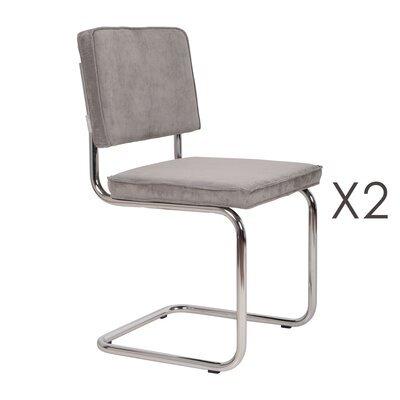 Lot de 2 chaises en tissu gris clair - RIDGE
