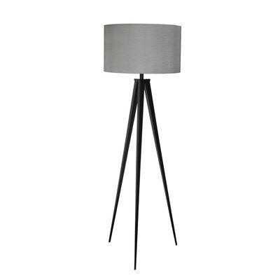Lampadaire 50x50x157 cm en tissu gris et pieds noirs - TRIPOD