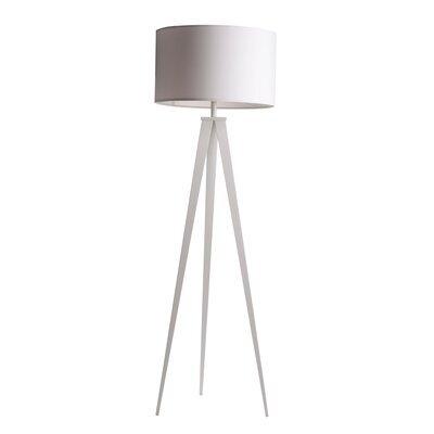 Lampadaire 50x50x157 cm en tissu et pieds blancs - TRIPOD