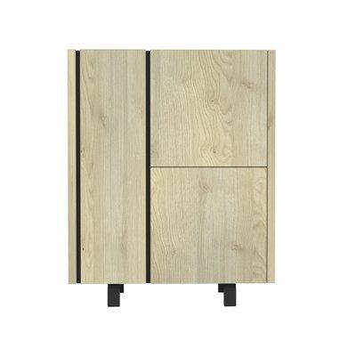 Meuble d'entrée 3 portes 100x40,5x125 cm chêne et noir - SOREN