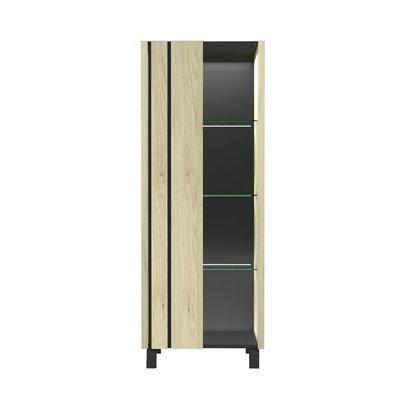 Vitrine 1 porte avec leds 73x40,5x183 cm chêne et noir - SOREN