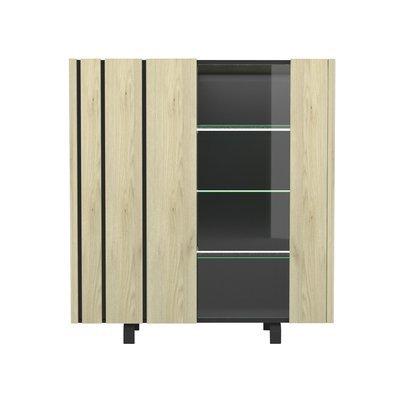 Vitrine 2 portes avec leds 140x45,5x151,5 cm chêne et noir - SOREN