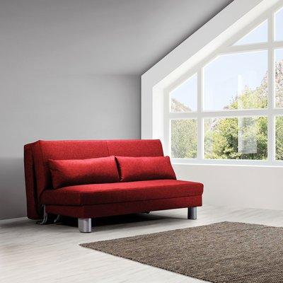 Banquette-lit 160 cm en tissu rouge - OZEN