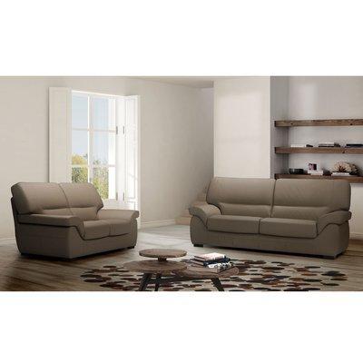 Ensemble de canapé 3 + 2 places en cuir taupe - CORTINA