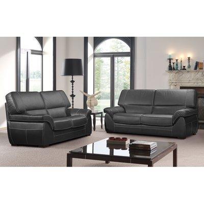 Ensemble de canapé 3 + 2 places en cuir noir - CORTINA