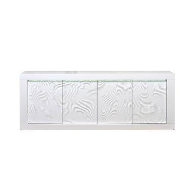 Buffet 4 portes 220x50x82 cm blanc brillant - FLOYD