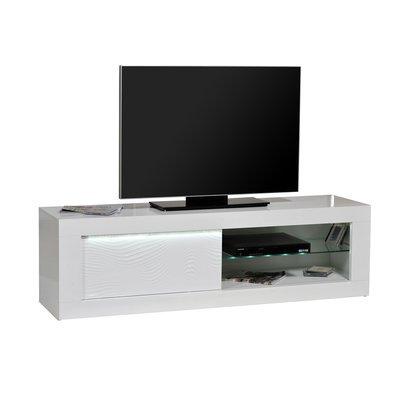 Meuble TV 1 porte 170x45x50 cm blanc brillant - FLOYD