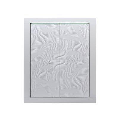 Buffet haut 2 portes 120x45x145 cm blanc brillant - FLOYD