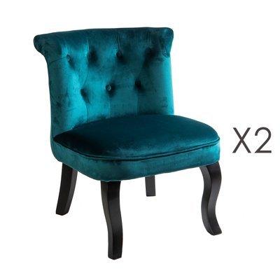 Lot de 2 fauteuils crapaud en velours bleu - TOADY