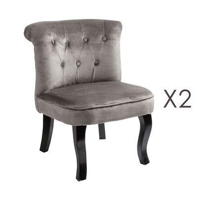 Lot de 2 fauteuils crapaud en velours gris - TOADY