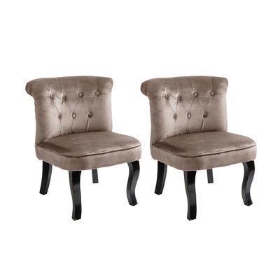 Lot de 2 fauteuils crapaud en velours beige - TOADY