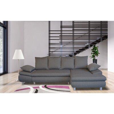 Canapé d'angle à droite convertible en tissu gris - XENA