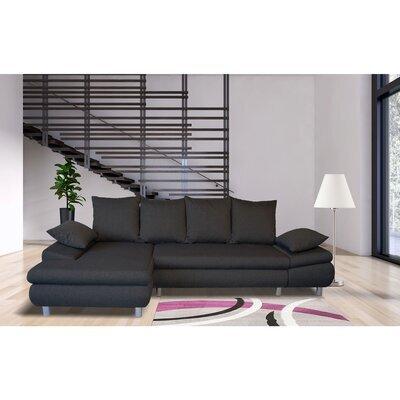 Canapé d'angle à gauche convertible en tissu anthracite - XENA