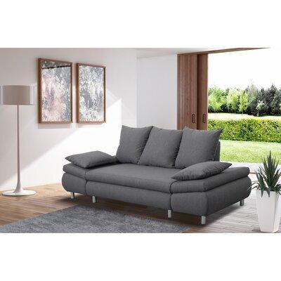 Canapé 3 places convertible en tissu gris - XENA